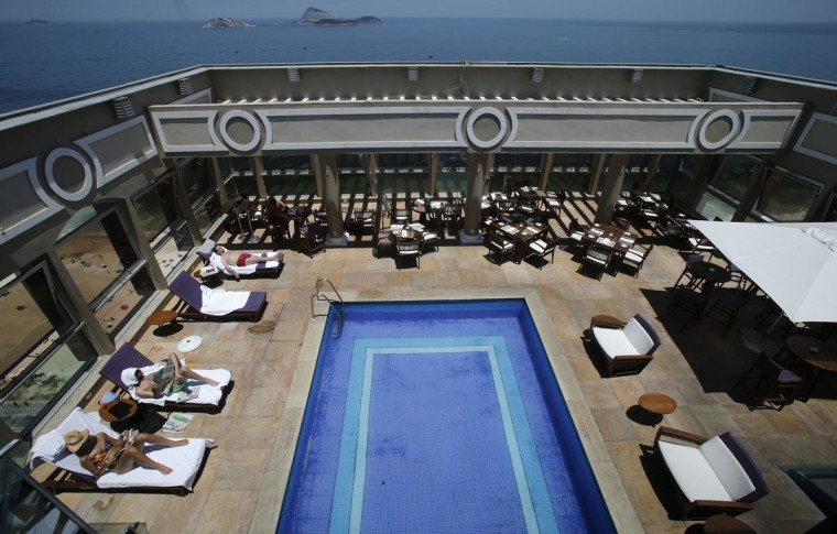 A view of the pool of the Caesar Park hotel, where the Netherlands soccer squad is staying for the FIFA 2014 World Cup, in Rio de Janeiro. (REUTERS/Sergio Moraes)
