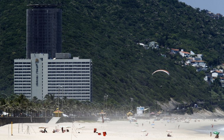 A view of the Royal Tulip hotel, where the England soccer team will be staying at during the 2014 World Cup, in front of Sao Conrado beach in Rio de Janeiro. (REUTERS/Sergio Moraes)