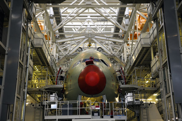An Airbus A380 is pictured on the production line at Airbus headquarters in Toulouse. (REUTERS/Philippe Wojazer)
