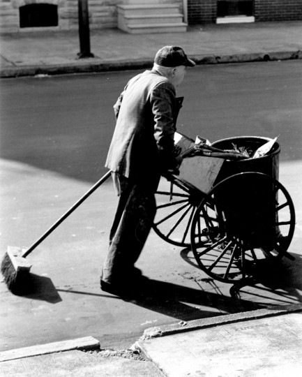 """""""Hokey Man, 1956"""" -- a hokey man, or street cleaner, with his cart. Photo by Thomas C. Scilipoti. (handout photo scanned 12/29/03)"""