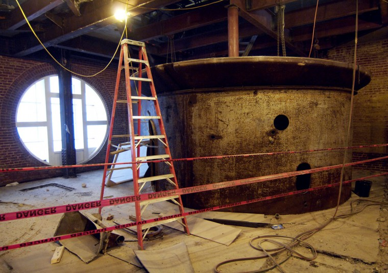 One steel brewing tank remains from the previous glory days of the American Brewery Company. (Christopher T. Assaf /Baltimore Sun)