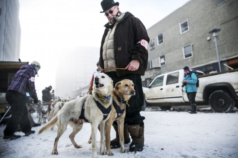 Linwood Fiedler's team awaits the entry chute of the ceremonial start to the Iditarod dog sled race in downtown Anchorage, Alaska, March 1, 2014. REUTERS/Nathaniel Wilder (UNITED STATES - Tags: SPORT ANIMALS SOCIETY) ORG XMIT: ANC129