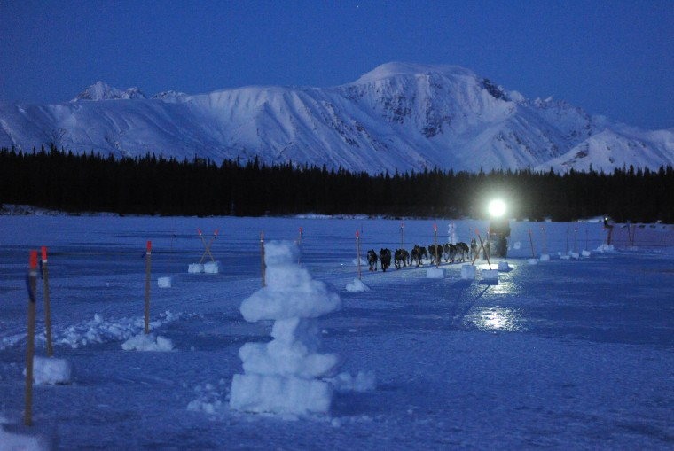 John Baker comes into the Finger Lake checkpoint during the 2014 Iditarod Trail Sled Dog Race on Monday morning, March 3, 2014, in Alaska. (Bob Hallinen/Anchorage Daily News/MCT)