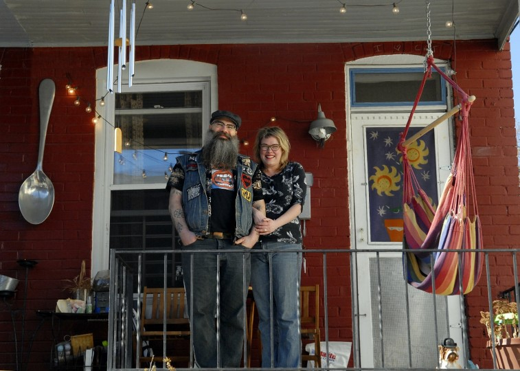 Mike Podczaski and his wife, Kate Felder, have lived in their house in Remington since 2007. Felder likes her house because of the private nature and the convenience. (Photo by Chiaki Kawajiri)