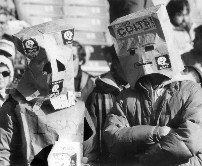 On December 14, 1981 Colts fans where bags over their heads in shame as the team plays the Washington Redskins. (file photo/Baltimore Sun)