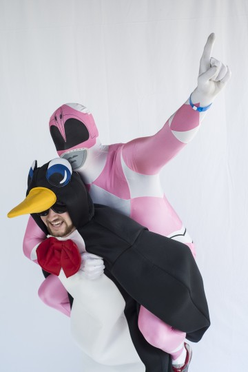 Penguin-suited Andrew Brow and Sergey Feldman at the Special Olympics Polar bear Plunge at Sandy Point State Park. (Matthew Paul D'Agostino/For The Baltimore Sun)