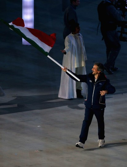 Andrea Chiarotti of Italy bears the flag during the Opening Ceremony of the Sochi 2014 Paralympic Winter Games at Fisht Olympic Stadium on March 7, 2014 in Sochi, Russia. (Hannah Peters/Getty Images)