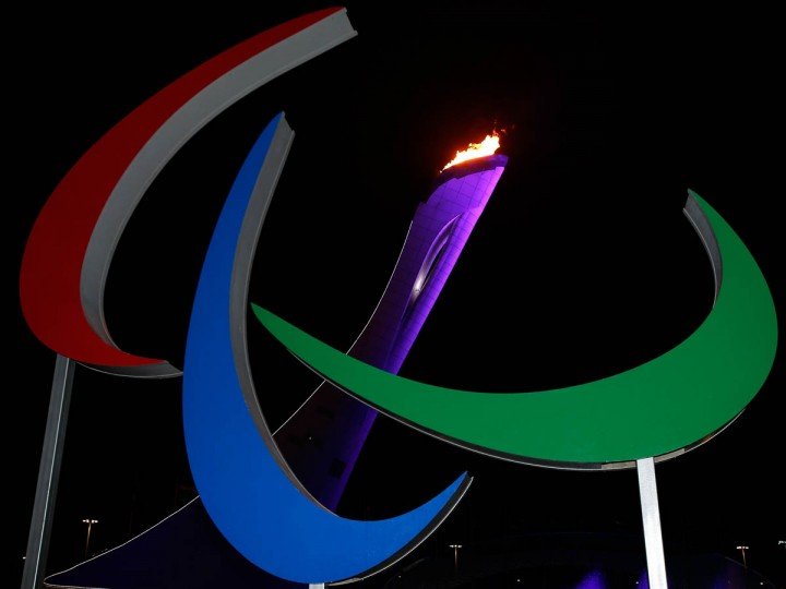 A general view of the Agitos in front of the Olympic flame after it was lit at the end of the Opening Ceremony of the Sochi 2014 Paralympic Winter Games at Fisht Olympic Stadium on March 7, 2014 in Sochi, Russia. (Harry Engels/Getty Images)