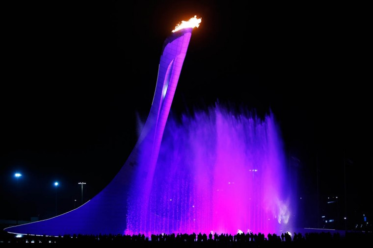 A general view of the Olympic cauldron after the flame was lit at the end of the Opening Ceremony of the Sochi 2014 Paralympic Winter Games at Fisht Olympic Stadium on March 7, 2014 in Sochi, Russia. (Harry Engels/Getty Images)