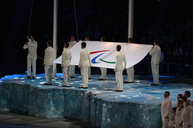The Paralympic flag is raised during the Opening Ceremony of the Sochi 2014 Paralympic Winter Games at Fisht Olympic Stadium on March 7, 2014 in Sochi, Russia. (Hannah Peters/Getty Images)