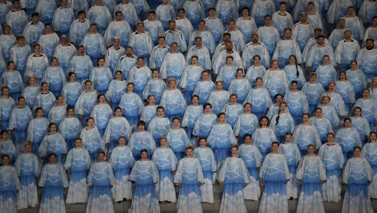 Performers take part in the opening ceremony of the 2014 Paralympic Winter Games in Sochi, March 7, 2014. (Christian Hartmann/Reuters photo)