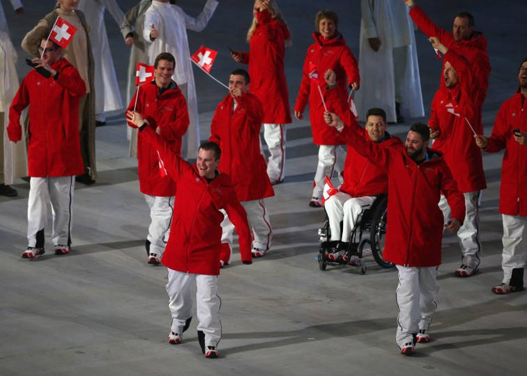 The Swiss team during the Opening Ceremony of the Sochi 2014 Paralympic Winter Games at Fisht Olympic Stadium on March 7, 2014 in Sochi, Russia. (Hannah Peters/Getty Images)