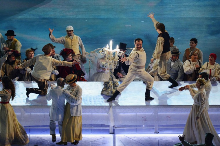 Artists perform during the Opening Ceremony of the Sochi 2014 Paralympic Winter Games at Fisht Olympic Stadium on March 7, 2014 in Sochi, Russia. (Dennis Grombkowski/Getty Images)