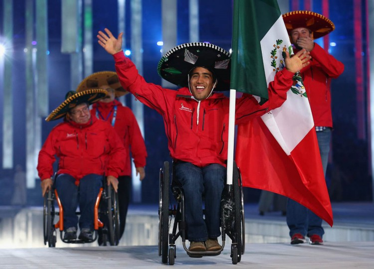 Mexico enters the arena lead by flag bearer Arly Velasquez during the Opening Ceremony of the Sochi 2014 Paralympic Winter Games at Fisht Stadium on March 7, 2014 in Sochi, Russia. (Tom Pennington/Getty Images)