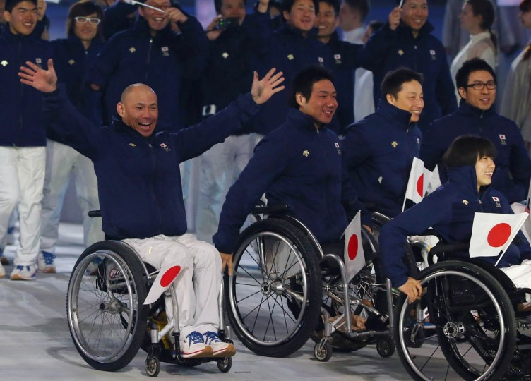 Japan enters the arena during the Opening Ceremony of the Sochi 2014 Paralympic Winter Games at Fisht Olympic Stadium on March 7, 2014 in Sochi, Russia. (Ronald Martinez/Getty Images)