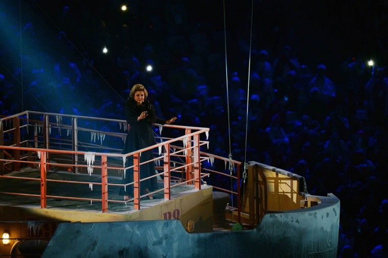 Russian soprano Maria Guleghina performs during the Opening Ceremony of the Sochi 2014 Paralympic Winter Games at Fisht Olympic Stadium on March 7, 2014 in Sochi, Russia. (Dennis Grombkowski/Getty Images)