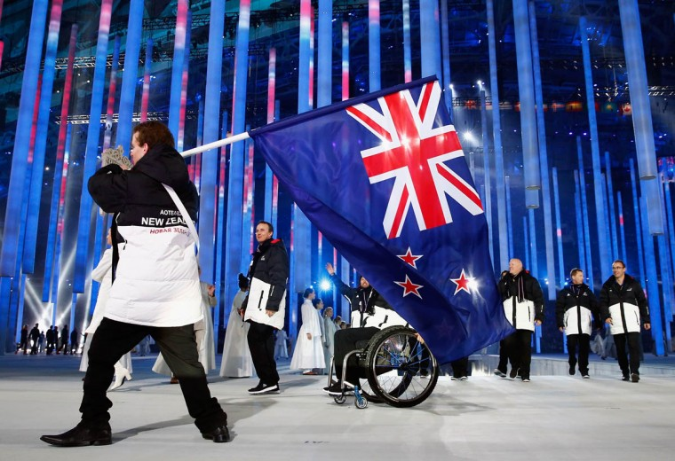 New Zealand enters the arena lead by flag bearer Adam Hall during the Opening Ceremony of the Sochi 2014 Paralympic Winter Games at Fisht Stadium on March 7, 2014 in Sochi, Russia. (Tom Pennington/Getty Images)
