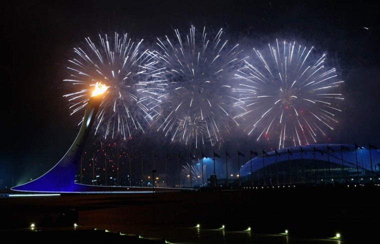A general view is seen of fireworks over Fisht Olympic Stadium during the Opening Ceremony of the Sochi 2014 Paralympic Winter Games at Fisht Olympic Stadium on March 7, 2014 in Sochi, Russia. (Mark Kolbe/Getty Images)