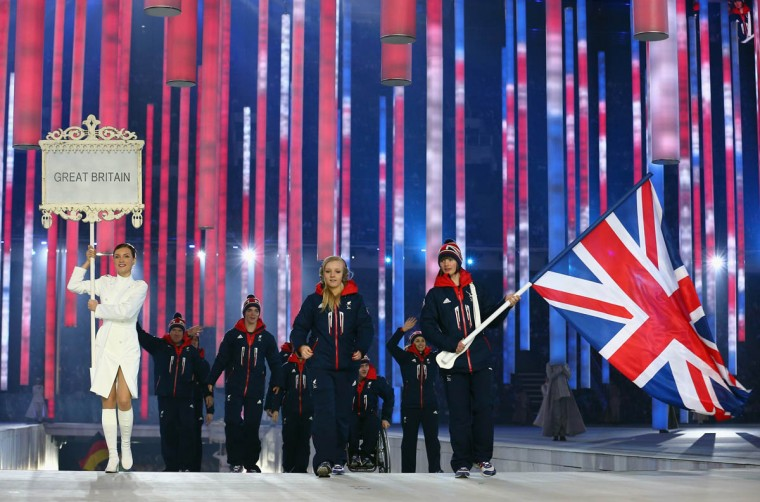 Great Britain enters the arena lead by flag bearer Millie Knight during the Opening Ceremony of the Sochi 2014 Paralympic Winter Games at Fisht Stadium on March 7, 2014 in Sochi, Russia. (Tom Pennington/Getty Images)