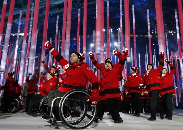 Canada's Athletes take part in the opening ceremony of the 2014 Paralympic Winter Games in Sochi, March 7, 2014. (Alexander Demianchuk/Reuters photo)