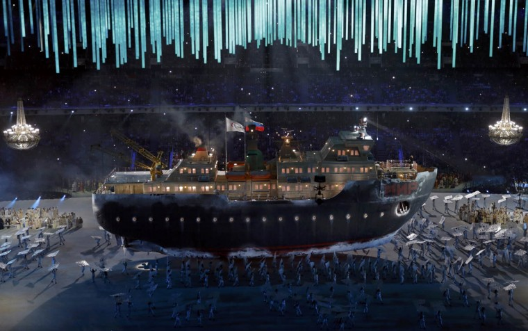 An icebreaker ship called 'Peace' carries the Paralympic and Russian flags during the opening ceremony of the 2014 Paralympic Winter Games in Sochi March 7, 2014. (Christian Hartmann/Reuters photo)