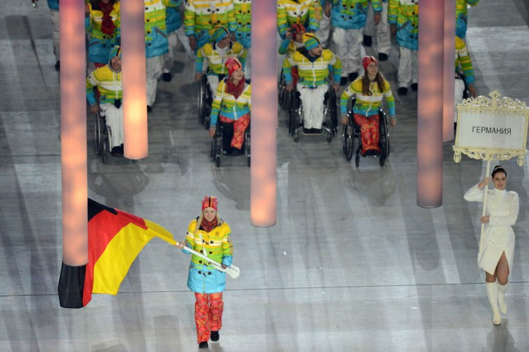 Germany's delegation enters the Fisht Olympic Stadium during the opening ceremony of the 2014 Winter Paralympic Games in the Black Sea resort of Sochi on March 7, 2014. (Kirill Kudryavtsev/Getty Images)