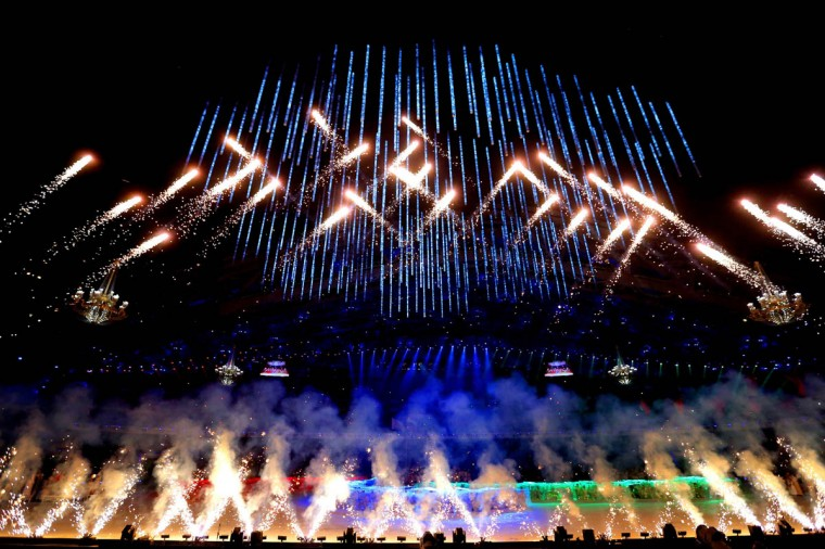 Fireworks erupt during the Opening Ceremony of the Sochi 2014 Paralympic Winter Games at Fisht Olympic Stadium on March 7, 2014 in Sochi, Russia. (Ronald Martinez/Getty Images)