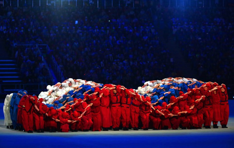 Dancers form a 'fluttering' Russian flag during the Opening Ceremony of the Sochi 2014 Paralympic Winter Games at Fisht Olympic Stadium on March 7, 2014 in Sochi, Russia. (Ronald Martinez/Getty Images)