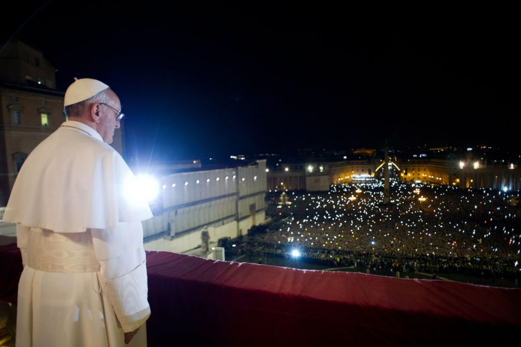 This handout picture released by the Vatican Press Office on March 13, 2013 shows Argentina's Jorge Bergoglio, elected Pope Francis I, appearing at the window of St Peter's Basilica's balcony after being elected the 266th pope of the Roman Catholic Church on March 13, 2013 at the Vatican. (AFP/Osservatore Romano)