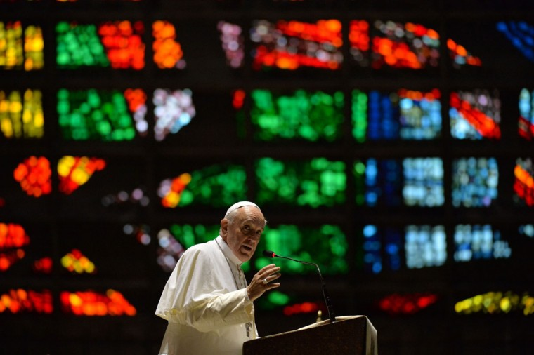 Pope Francis delivers a speech during a visit to the Cathedral of Rio de Janeiro, on July 25, 2013. Pope Francis urged young Brazilians not to despair in the battle against corruption Thursday as he addressed their country's political problems in the wake of massive protests. The first Latin American and Jesuit pontiff arrived in Brazil mainly for the huge five-day Catholic gathering World Youth Day. (Nelson Almeda/AFP/Getty Images)