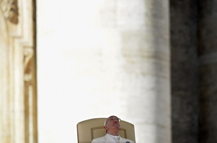 """Pope Francis is pictured during his weekly general audience on March 5, 2014 at St.Peter's square. The pontiff today has defended the Catholic Church's record on tackling the sexual abuse of children by priests, saying """"no-one else has done more"""" to root out paedophilia. (Andreas Solaro/AFP/Getty Images)"""