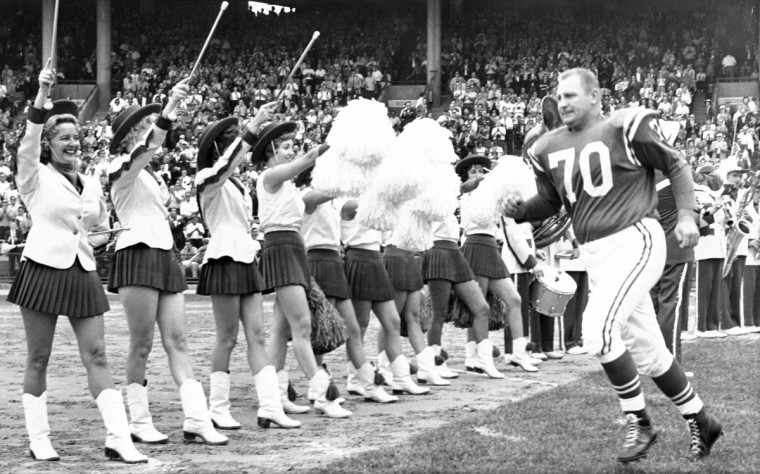 Art Donovan takes the field in September 1962 during a tribute to him after he announced his retirement. (file photo/Baltimore Sun)