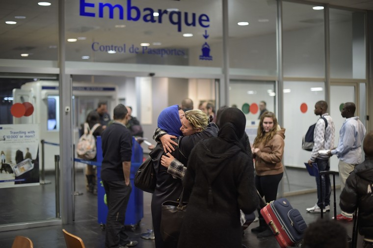 MELILLA, SPAIN - APRIL 02:  Arabic women are pictured inside the Ferry Terminal of Melilla on the north African Spanish enclave of Melilla while boarding a cruise ship which is heading to Malage, the Spanish mainland, on April 2, 2014, in Melilla, Spain. Melilla is a Spanish city and an exclave on the north coast of Africa sharing a border with Morocco. Almost one week ago some 800 sub-Saharan people made several attempts to reach Spain and according to official sources, ten of them managed to enter Spanish territory. The migrants hide just west of the city centre and try to cross the 7-meter high fence to Melilla and into the European Union in hope of a better life.  (Photo by Alexander Koerner/Getty Images)