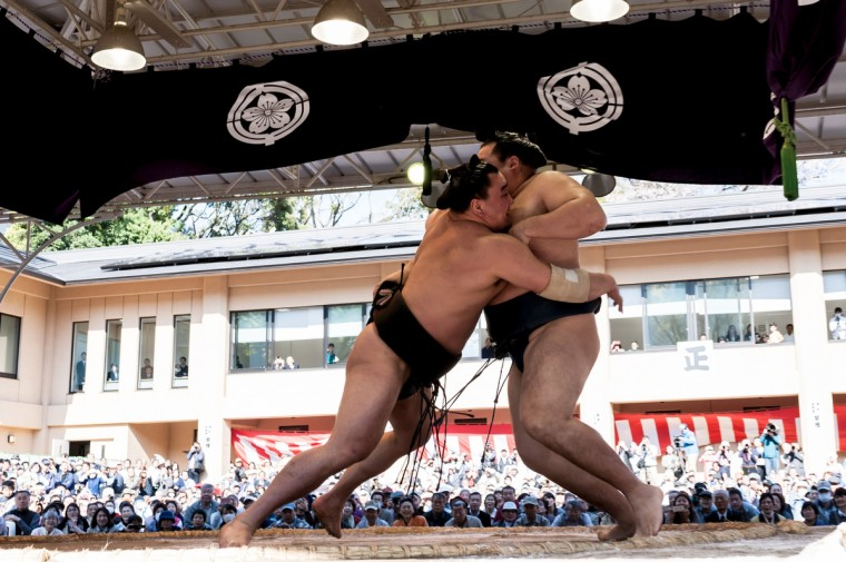 Professional sumo wrestler Harumafuji Kohei pushes his opponent Kakuryu Rikisaburo during the Ceremonial Sumo Tournament or Honozumo at the Yasukuni Shrine. (Keith Tsuji/Getty Images)