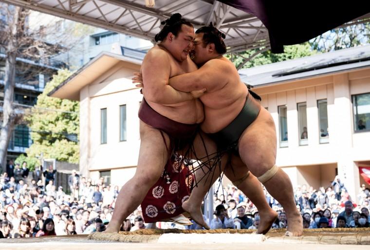 Professional sumo wrestler Kotoshogiku Kazuhiro (R) pushes his opponent Kisenosato Yutaka during the Ceremonial Sumo Tournament or Honozumo at the Yasukuni. (Keith Tsuji/Getty Images)