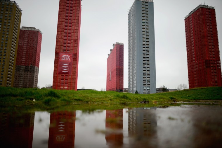 A general view of the iconic Red Road flats on April 4 in Glasgow, Scotland. Five of the six tower blocks are to be demolished, which will apparently take just 15 seconds, during the opening ceremony of the 2014 Commonwealth Games being held in the city on July 23, 2014. (Photo by Jeff J Mitchell/Getty Images)