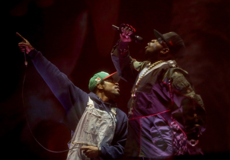 Andre 3000 (L) and Big Boi of Outkast perform onstage during day 1 of the 2014 Coachella Valley Music & Arts Festival at the Empire Polo Club on April 11, 2014 in Indio, California. (Photo by Karl Walter/Getty Images for Coachella)
