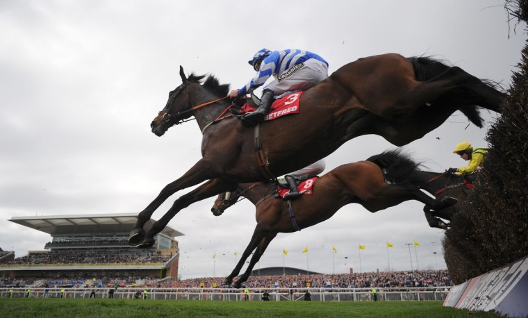 Days Hotel ridden by A E Lynch clears the last fence during the Melling Steeple Chase during Ladies Day at the Grand National horse race meeting at Aintree in Liverpool, northwest England, on April 4, 2014. (Andrew Yates/Getty Images)
