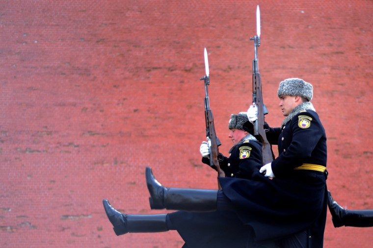 Soldiers of the Presidential Regiment march during the Change of Guard ceremony at the Tomb of the Unknown Soldier in Moscow. (Kirill Kudryavtsev/Getty Images)