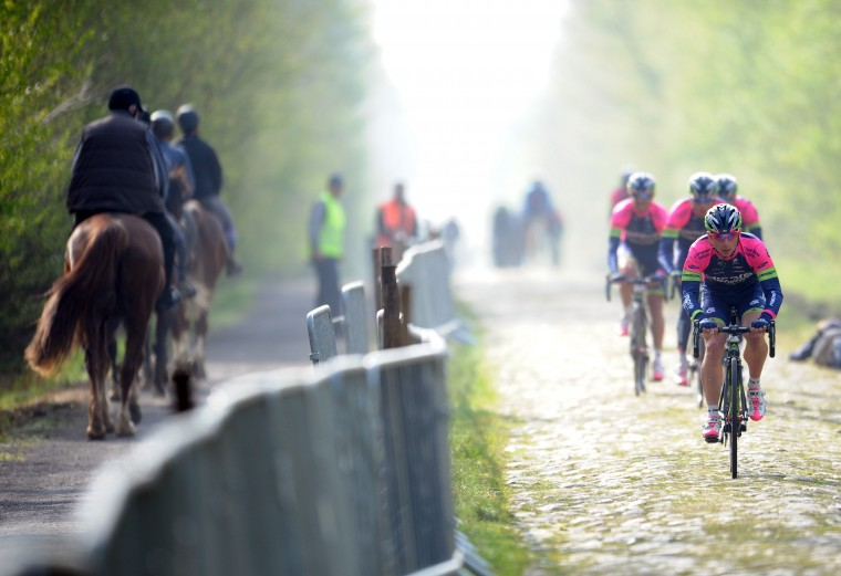 "The Sempre  team trains on the cobblestones of the Aremberg de Wallers section on April 11 for the ""Paris-Roubaix"" race.  