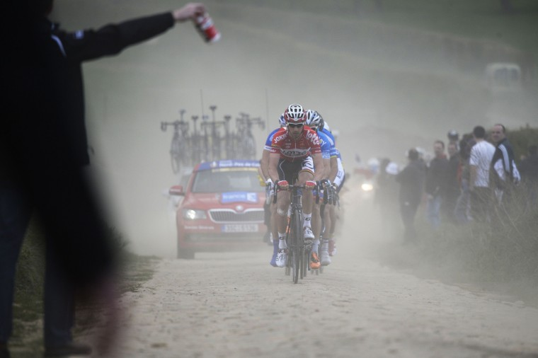 Belgium's Kenny Dehaes (Lotto-Belisol) leads an 8-men breakaway during the 112th edition of the Paris-Roubaix one-day classic cycling race between Compiegne and Roubaix, northern France. A(Eric Feferberg/Getty Images)