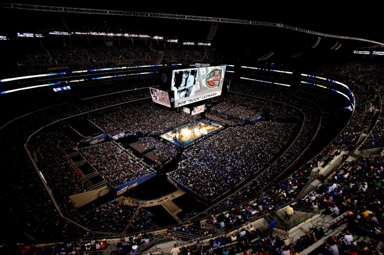 A general view as The Naismith Memorial Basketball Hall of Fame class of 2014 is presented during halftime of the NCAA Men's Final Four Championship between the Kentucky Wildcats and the Connecticut Huskies at AT&T Stadium on April 7, 2014 in Arlington, Texas. (Photo by Ronald Martinez/Getty Images)
