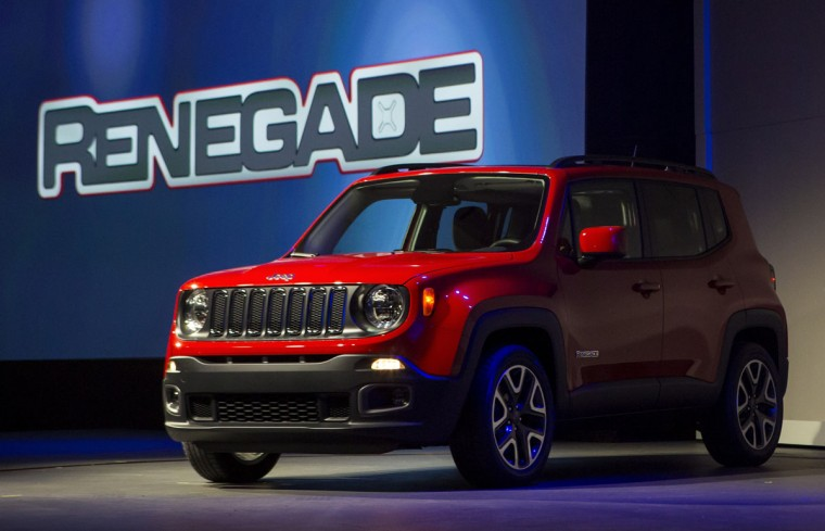 The Chrysler Group LLC Jeep Renegade Trail Hawk sport utility vehicle is unveiled during a media preview of the 2014 New York International Auto Show April 16, 2014 in New York City. The show opens with a sneak preview to the public April 18 and runs through April 27. (Photo by Eric Thayer/Getty Images)