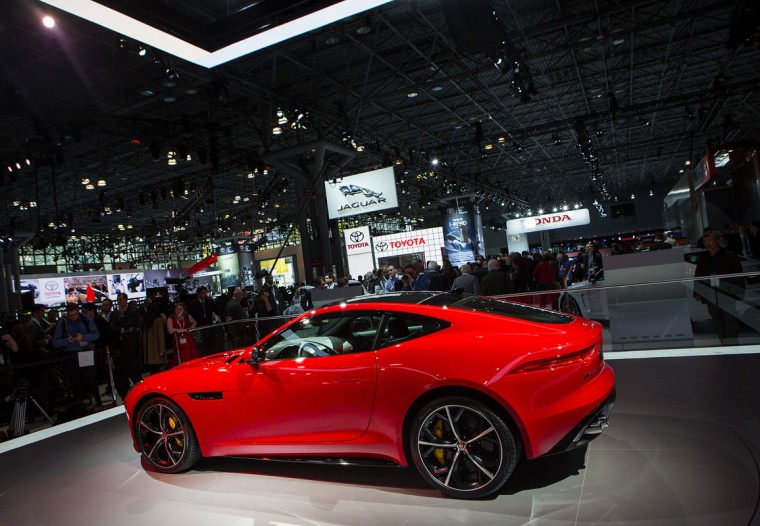 A Jaguar F Type sports car is seen during a media preview of the 2014 New York International Auto Show April 16, 2014 in New York City. The show opens with a sneak preview to the public April 18 and runs through April 27. (Photo by Eric Thayer/Getty Images)
