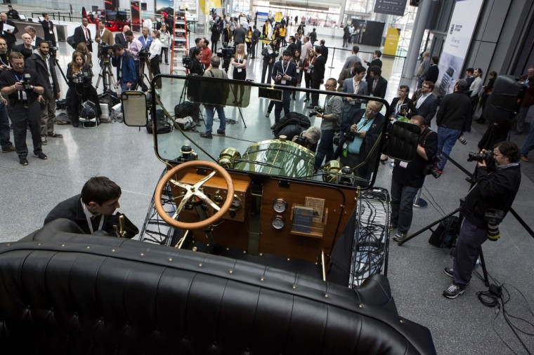 A prototype of an electric carriage is seen during a media preview of the 2014 New York International Auto Show in New York City. Makers of the carriage are hoping to replace horse carriages in New York City. The show opens with a sneak preview to the public April 18th and runs through April 27th. (Photo by Eric Thayer/Getty Images)