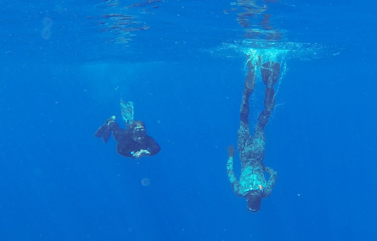 A handout photo taken on April 7, 2014 and released on April 8 by Australian Defence shows Able Seaman Clearance Divers Matthew Johnston (R) and Michael Arnold from the Australian Defence Vessel Ocean Shield scanning the water for debris of the missing Malaysia Airlines Flight MH 370 in the southern Indian Ocean. The hunt for underwater signals from missing Flight MH370 is likely to continue for days before a robot submersible is deployed to comb the seabed, the Australian search chief said on April 8, 2014. (Austrailian Defense/Leur Ryan Davis/AFP)