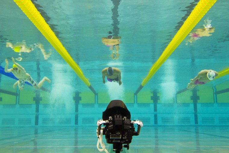 This picture taken with an underwater camera shows swimmers competing in the 100m breaststroke men's race on April 8, 2014 during the French swimming championships in Chartres. (Damien Meyer/AFP/Getty Images)