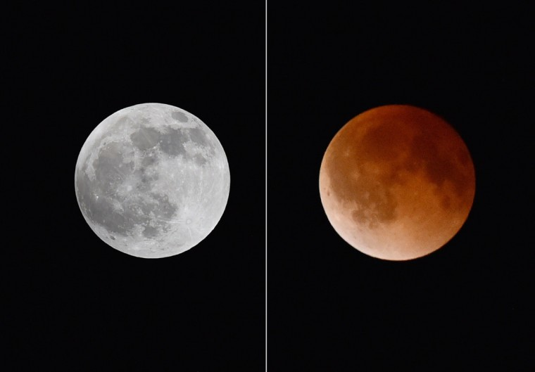 In this combo picture, a full moon (left) and later the moon during a total lunar eclipse (right) on April 15, 2014 are seen from Magdalena, New Mexico. (STAN HONDA/AFP/Getty Images)