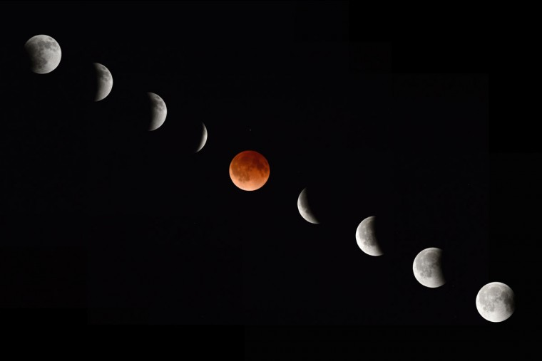 In this composite photograph, the moon is pictured at the beginning, middle and end of a total lunar eclipse as seen from Magdalena, New Mexico. (STAN HONDA/AFP/Getty Images)
