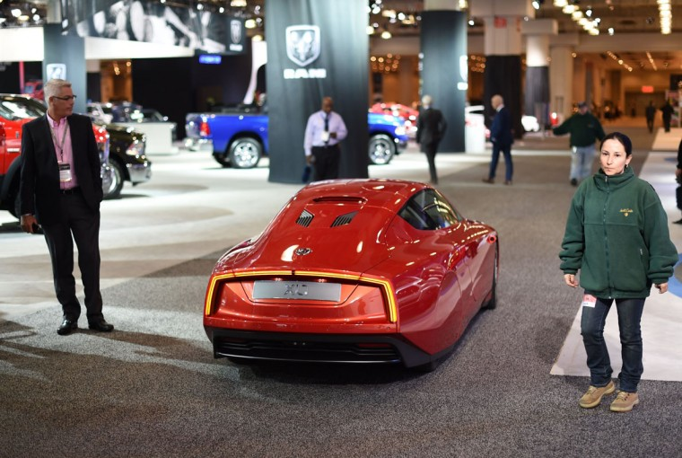 A Volkswagen XL1 car is displayed during the second press preview day at the 2014 New York International Auto Show April 17, 2014 in New York at the Jacob Javits Center. (Timothy A. Clary/AFP/Getty Images)